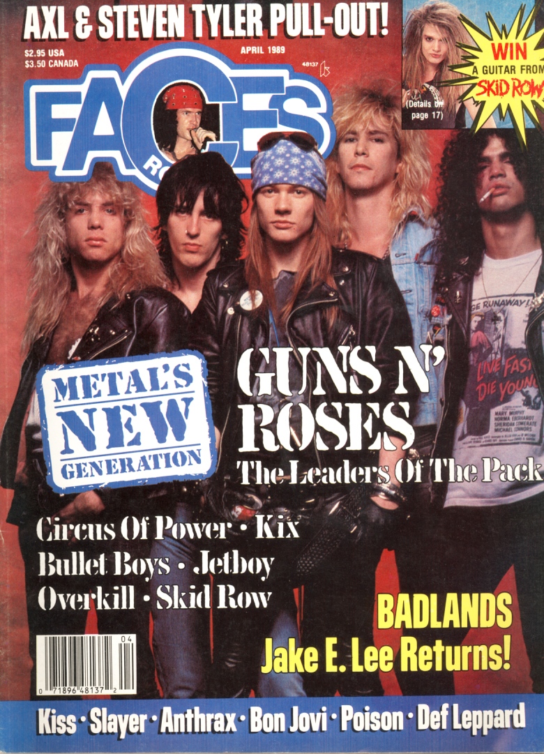 FACES GUNS AND ROSES APRIL 1989 Axl Rose and Slash   Featured items