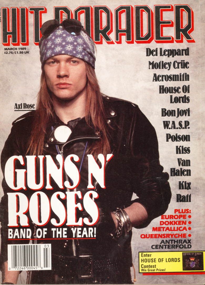 HIT PARADER GUNS AND ROSES MARCH 1989 Axl Rose and Slash   Featured items