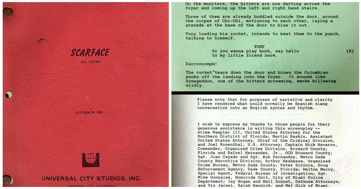 Propmaster's Scarface Script