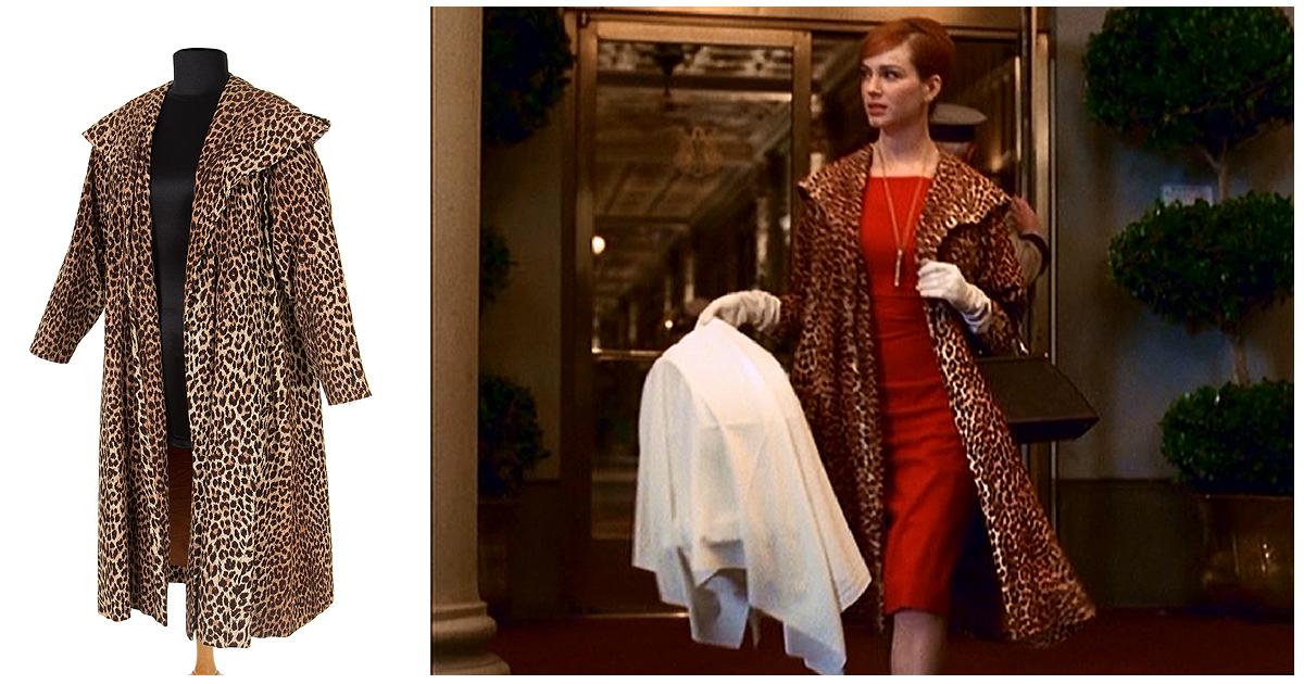 a527481a83a6 Joan Harris Leopard print coat Mad Men