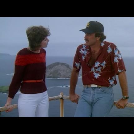 b982b4a9 MAGNUM P.I. - Thomas Magnum (Tom Selleck) Burgundy Hawaiian Shirt | The  Golden Closet